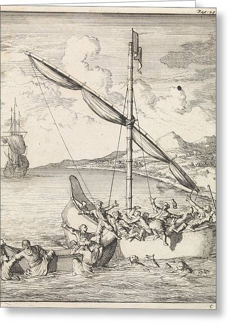 Fight At A Malaysian Canoe In The Bay Of Siam Greeting Card by Caspar Luyken And Abraham De Hondt