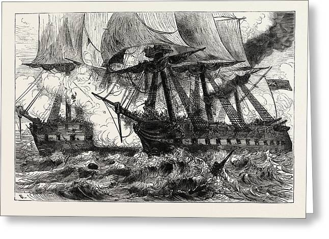 Fight Between The Chesapeake And The Shannon, Off Boston Greeting Card
