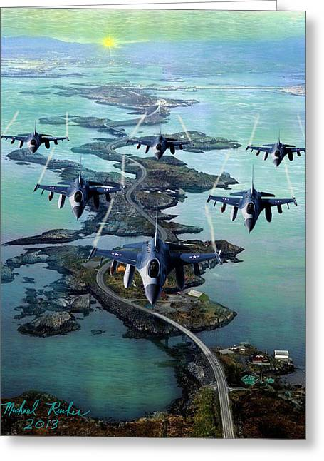 Fighter Jet Squadron  Greeting Card by Michael Rucker