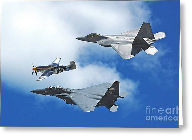 Fighter Jets Old And New Greeting Card