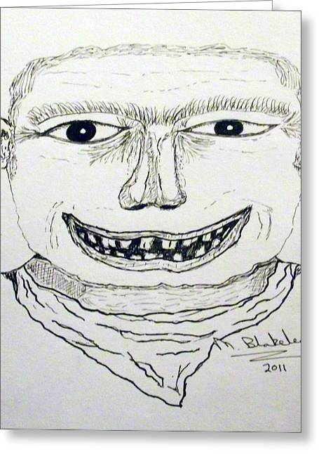 Greeting Card featuring the drawing Fighter Mugshot by Martin Blakeley