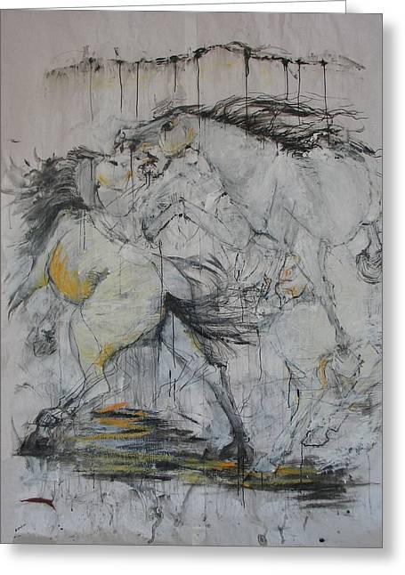 Fighting Horses Greeting Card by Elizabeth Parashis