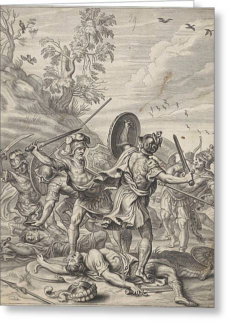 Fighting Odysseus, Anonymous, Abraham Van Diepenbeeck Greeting Card
