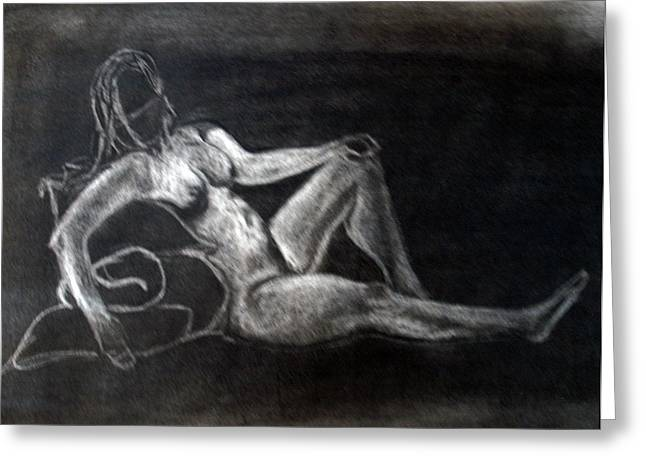 Figure Drawing Greeting Card by Corina Bishop