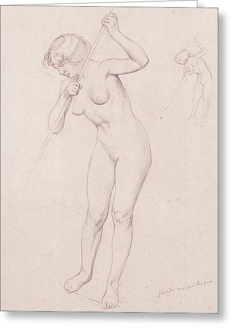 Figure Study For 'the Slaying Of Orpheus'  Greeting Card