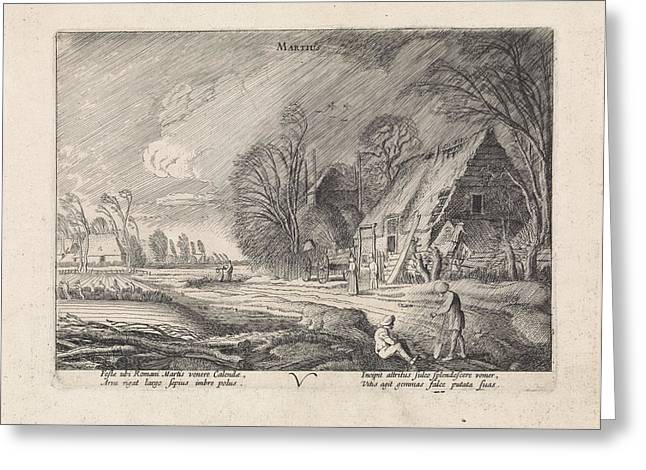 Figures At A Farm In The Rain March, Jan Van De Velde II Greeting Card