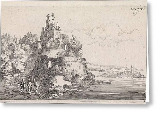 Figures At A Fort In A River Landscape, Jan Van De Velde II Greeting Card