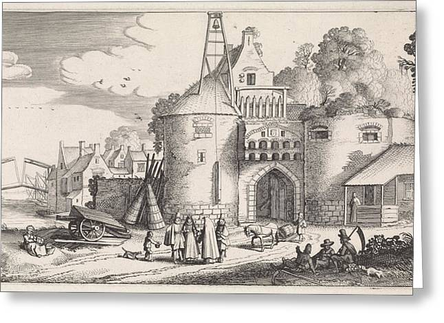 Figures At A Gate, Jan Van De Velde II Greeting Card by Jan Van De Velde (ii)