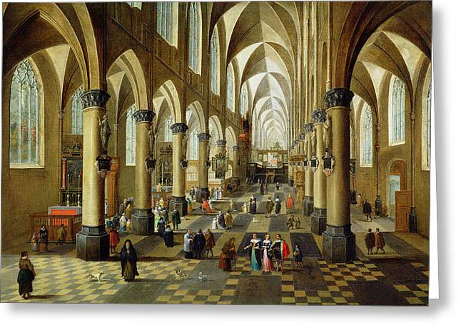 Figures Gathered In A Church Interior, 17th Century Greeting Card by Pieter the Younger Neeffs