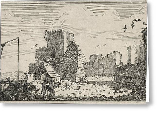 Figures Near A Well And A Ruined Farmhouse Greeting Card by Jan Van De Velde Ii