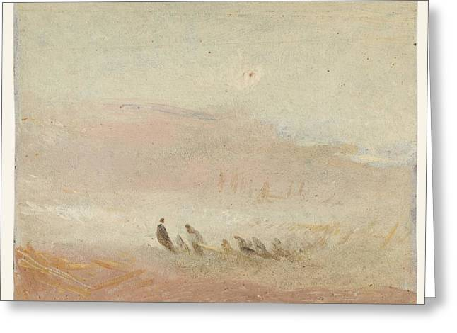 Figures On A Beach Study 1845 Greeting Card by J M W Turner