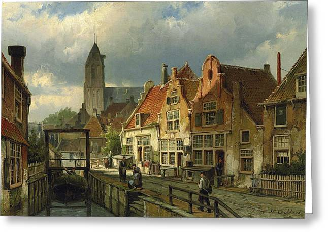 Figures On A Canal In Oudewater Greeting Card
