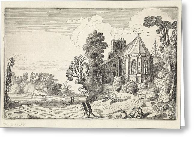 Figures On A Country Road Near A Church Ruin Greeting Card by Artokoloro