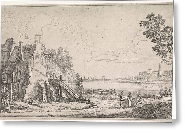 Figures On A Path Along A Dilapidated House On A River Greeting Card by Jan Van De Velde (ii)