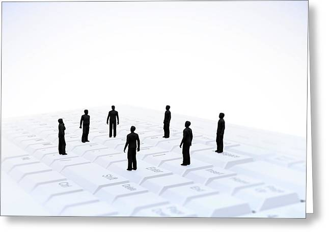 Figures On Computer Keyboard Greeting Card