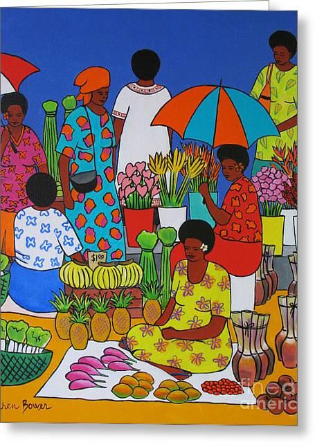 Fiji Market Greeting Card by Karen Bower