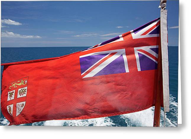 Fiji Merchant Ensign Flag On Malolo Cat Greeting Card
