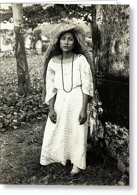 Filipino Woman In Traditional Rain Cape Greeting Card by American Philosophical Society