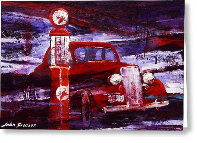 Greeting Card featuring the painting Fill Er Up 1935 by John  Svenson