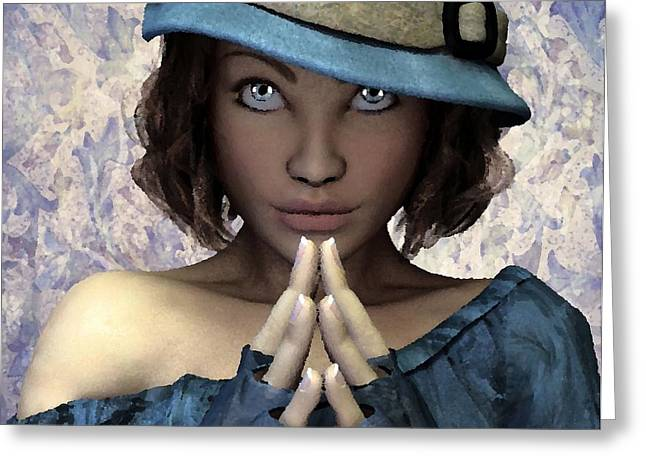 Greeting Card featuring the painting Fille Au Chapeau by Sandra Bauser Digital Art
