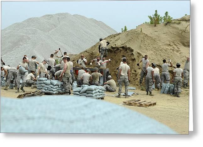 Filling Sandbags, Kunsan Air Base Greeting Card