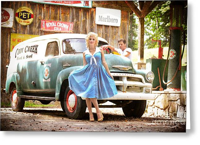 Filling Station Pinup Greeting Card by Jt PhotoDesign
