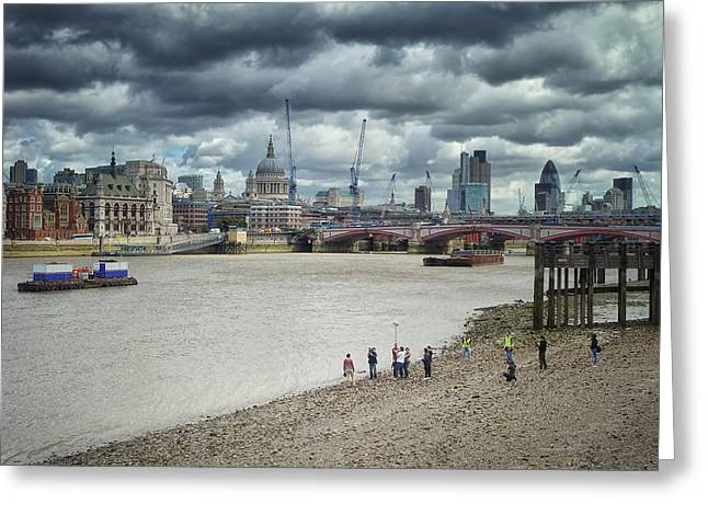 Film Crew On The Thames - London Back-drop Greeting Card