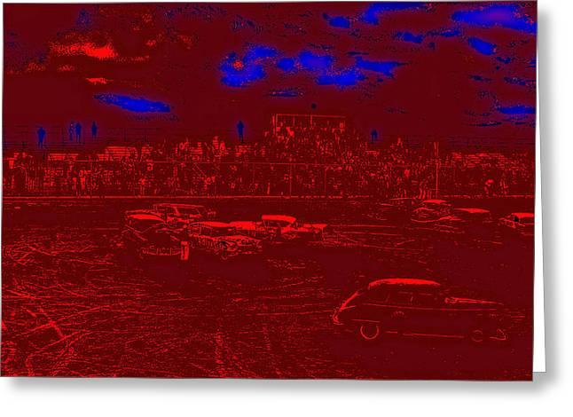 Film Homage Damnation Alley 2 1977 Demolition Derby Tucson Arizona 1968-2008 Greeting Card by David Lee Guss