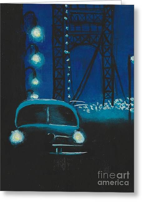 Film Noir In Blue #1 Greeting Card