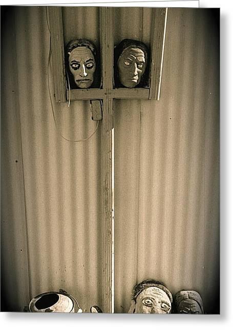 Film Noir Sidney Greenstreet Mask Of Demetrious 1944 Sid Bruce's Sculptures Black Canyon Az 1991 Greeting Card by David Lee Guss