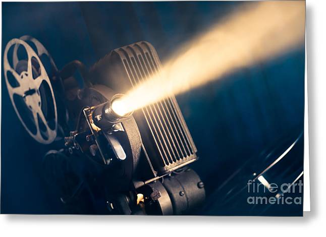 Film Projector On A Wooden Background Greeting Card