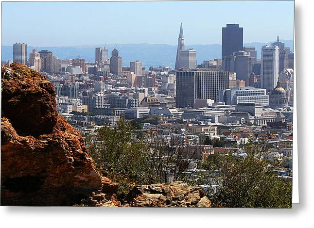 Financial District From Corona Heights Greeting Card by Robert Woodward