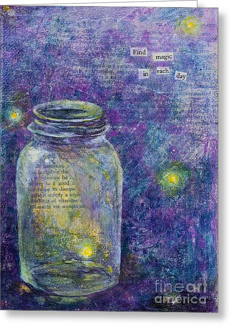 Greeting Card featuring the mixed media Find Magic by Melissa Sherbon
