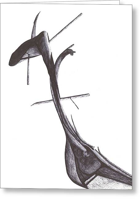 Greeting Card featuring the drawing Find Your Way by Giuseppe Epifani