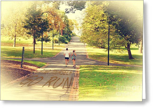 Find Yourself Go Run At Fitzroy Gardens In Melbourne Australia Greeting Card by Beverly Claire Kaiya