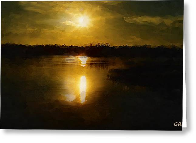 Fine Art Digital Painting Sunset Weeki Wachee Florida Greeting Card