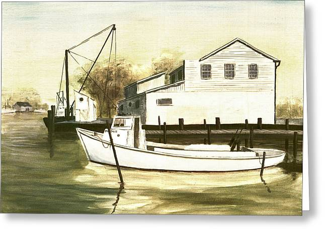 Fine Art Traditional Oil Painting Solomons Island Greeting Card