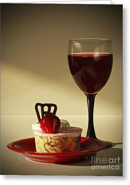 Fine Red Wine And Strawberry Marble Torte Dessert Greeting Card by Inspired Nature Photography Fine Art Photography