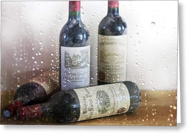 Fine Wine On A Rainy Afternoon Greeting Card
