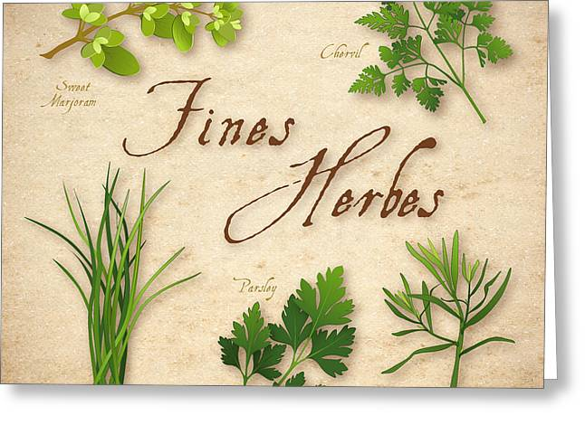 Fines Herbes - French Herb Blend Greeting Card by J M Designs