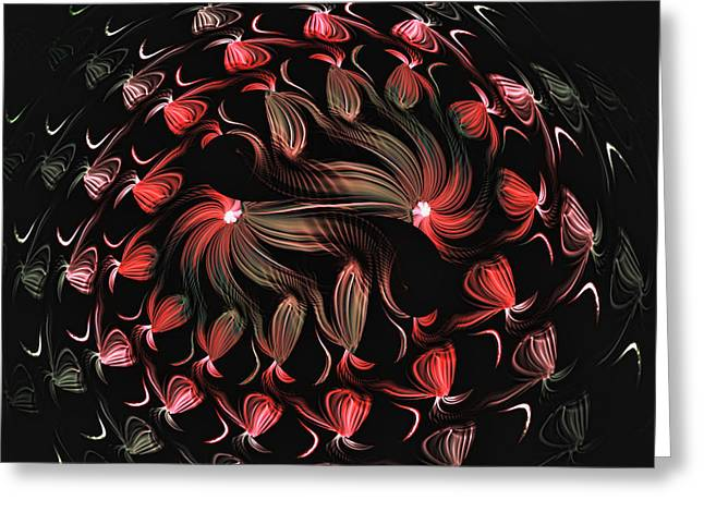 Greeting Card featuring the digital art Finger Painted Fractal by Lea Wiggins