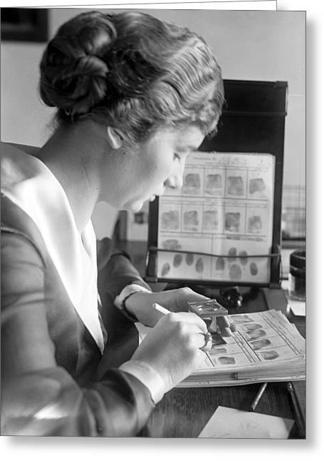Fingerprint Analysis, 1918 Greeting Card by Science Photo Library