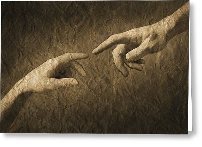 Fingers Almost Touching Greeting Card by Don Hammond