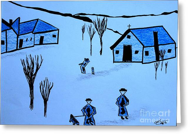 Greeting Card featuring the drawing Finland by Bill OConnor