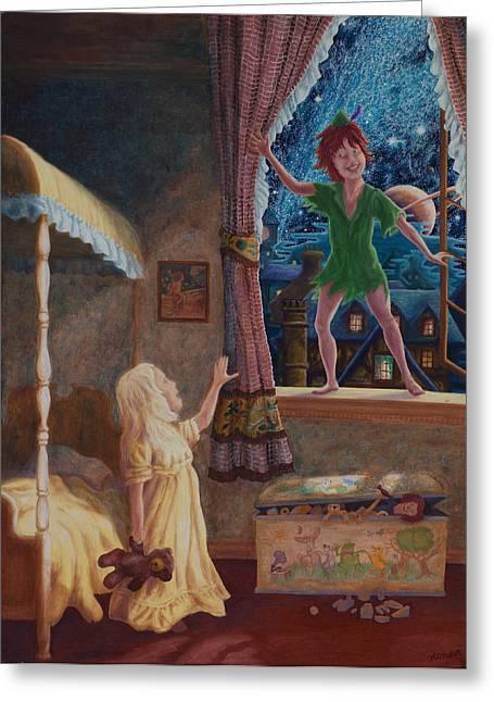 Greeting Card featuring the painting Finn Meets Peter by Matt Konar