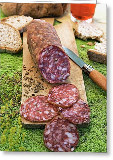 Finocchiona, Tuscan Salami With Wild Greeting Card by Nico Tondini