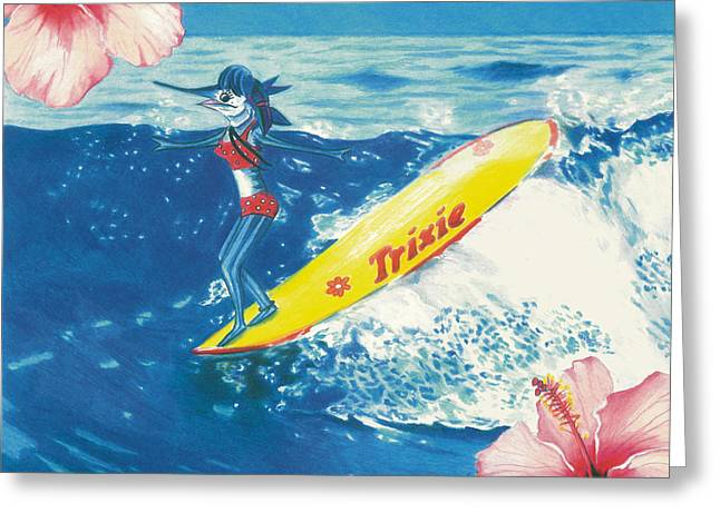 Fins On The Nose Greeting Card by Karen Rhodes