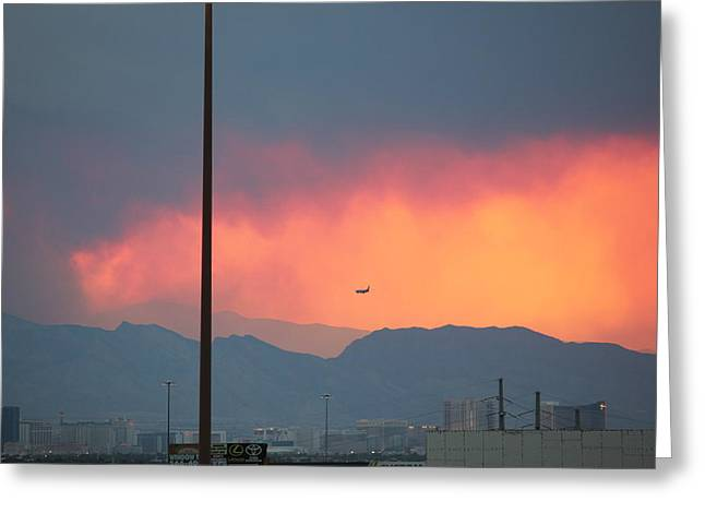 Fire Above Vegas Greeting Card