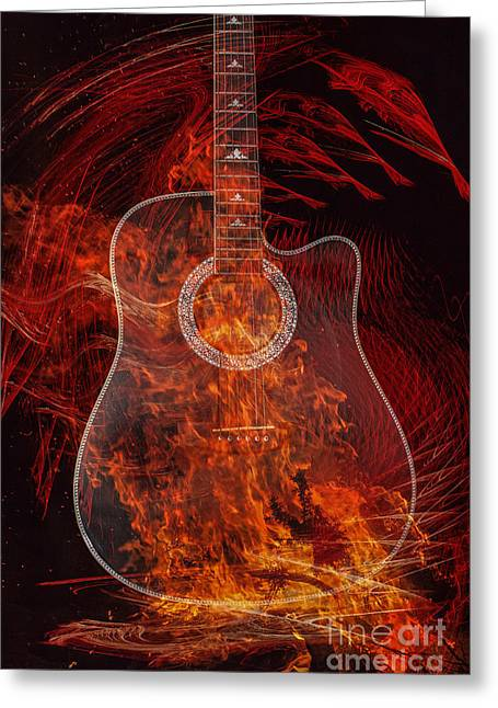 Fire And Guitar Greeting Card by Randy Steele