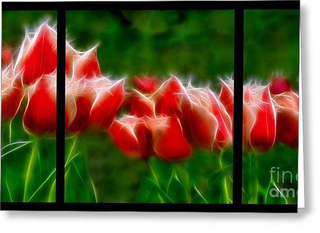Fire And Ice Fractal Triptych Greeting Card by Peter Piatt